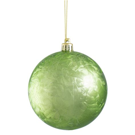 100mm feather smooth ball ornament lime green xh101869
