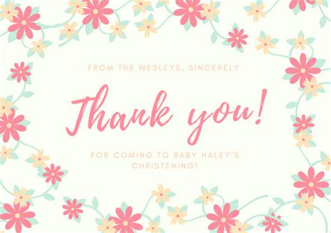 Thank You Letter Border christening thank you card templates canva