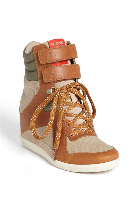 reebok wedge sneakers reebok wedge a sneaker in brown canvas brown green