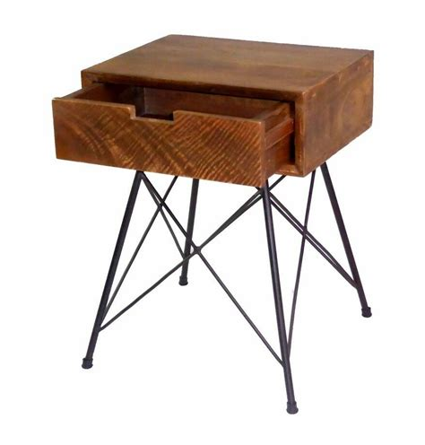 Nightstand Metal Legs by Industrial Bedside Table Mango Wood Nightstand With