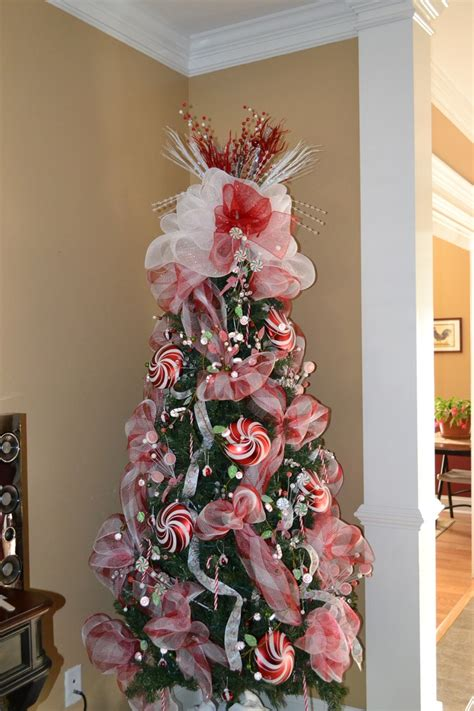 decoratingthe tree garland top finished the tree deco mesh assorted picks peppermint ornaments canes