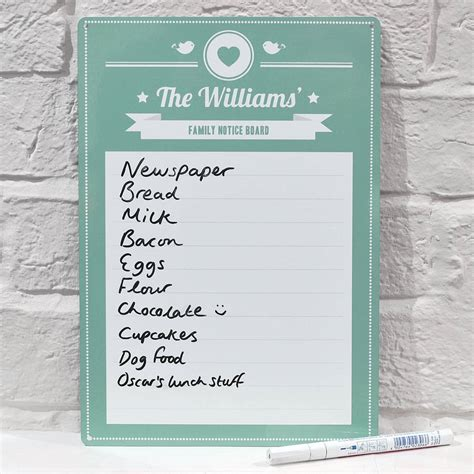 personalised family notice board whiteboard by oakdene