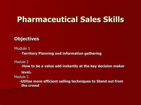 pharmaceutical sales skills