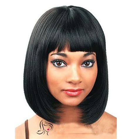 bang hair pieces for african americans perfect short straight black full bangs capless synthetic