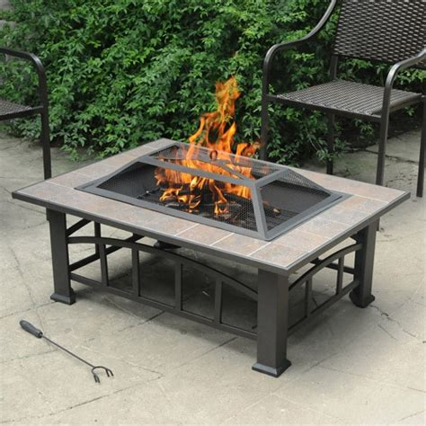 Fire Pit Tile Top Safety Screen Outdoor Garden Deck Lawn Firepit Safety