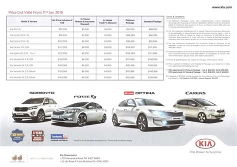 kia list singapore motorshow 2016 kia price list deals