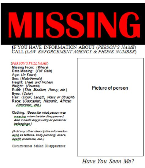 Missing Person Flyer Template