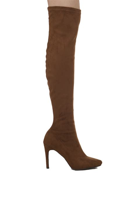 pointy toe knee high suede boots in brown lyst