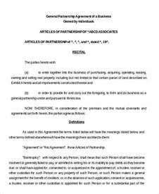 agreement template partnership agreement 10 free word pdf documents