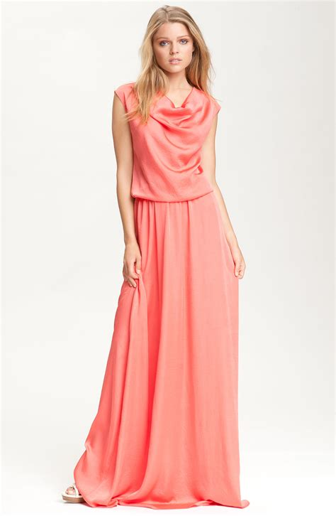 draped neckline dress robert rodriguez draped neck maxi dress in pink coral lyst