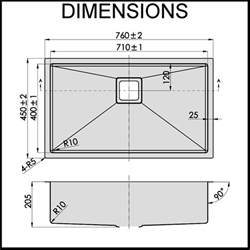 Large Kitchen Sink Dimensions Stainless Steel Kitchen Sink Large Bowl 1 5mm Thick Ebay