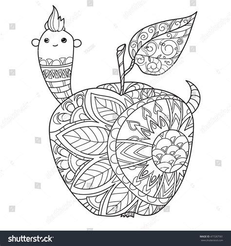 doodle worm honey apple doodle wormhand vector stock vector