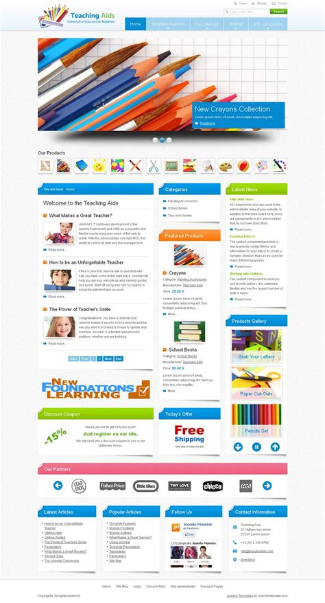 themes joomla education jm teaching aids premium joomla education template