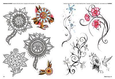 tatu fiori fiori e piume