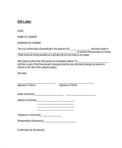 sample gift letter templates ms word