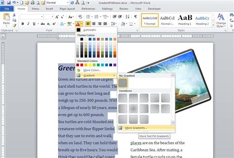 how to apply fill colors patterns and gradients to cells highlight text with the gradient fill effect in word
