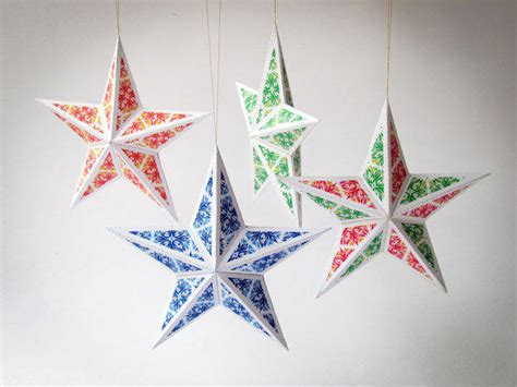 printable star decorations diy christmas star ornaments set of 6 from paperica on etsy