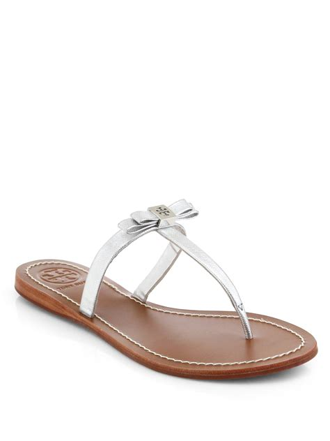 burch silver sandals burch leighanne metallic leather sandals in