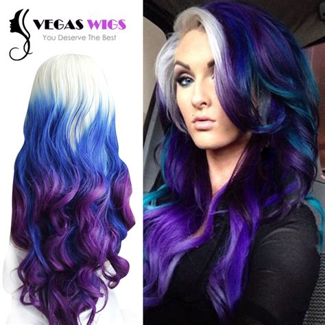 black people with purple hair save money with online coupon code vegaswigs fashion ombre rainbow three color blonde blue