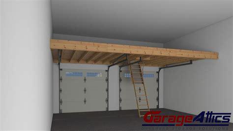 loft in garage overhead garage storage solutions garage storage