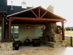 Outdoor covered patio designs with fireplace