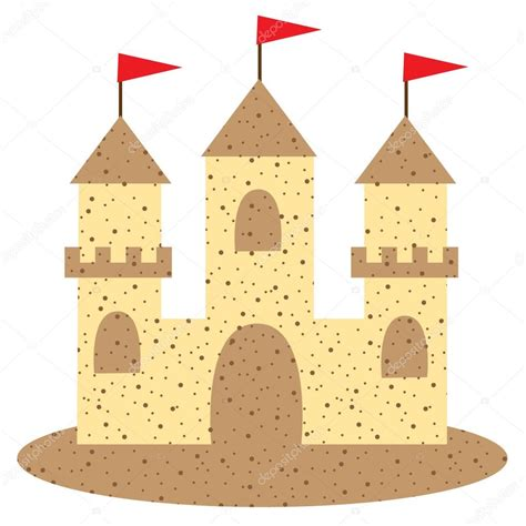 sand castle clipart sand castle med flaggor stock vektor 108860806