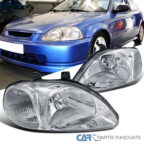 Spare Part Honda Ek for honda 96 98 civic ek ej jdm clear lens headlight ls chrome ebay