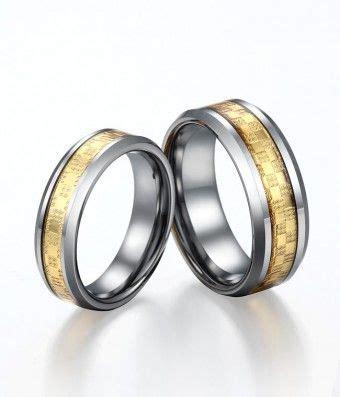 bright gold carbon fiber inlay tungsten ring set