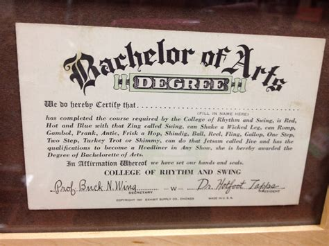 baltimore shoeseum bachelor of arts novelty 1940s degree