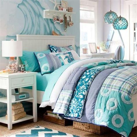 Pb Teen Wall Mural light teal blue and green bedroom abby lou pinterest