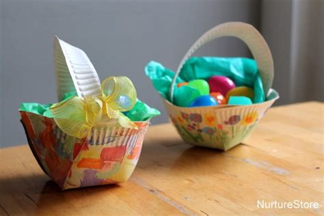 Paper Plate Basket Craft - paper plate easter basket craft nurturestore