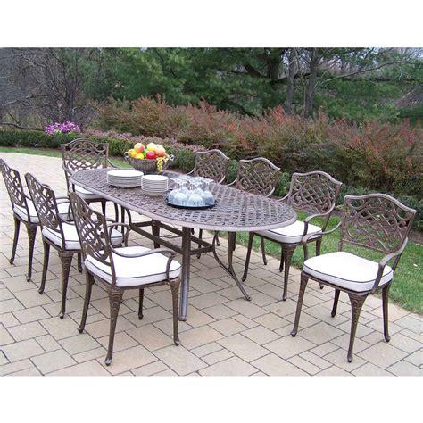 oakland living patio furniture oakland living mississippi cast aluminum 82 x 42 inch oval