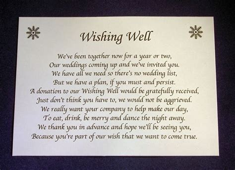 Wedding Card Poems by Personalised Small Wedding Wishing Well Poem Cards Money