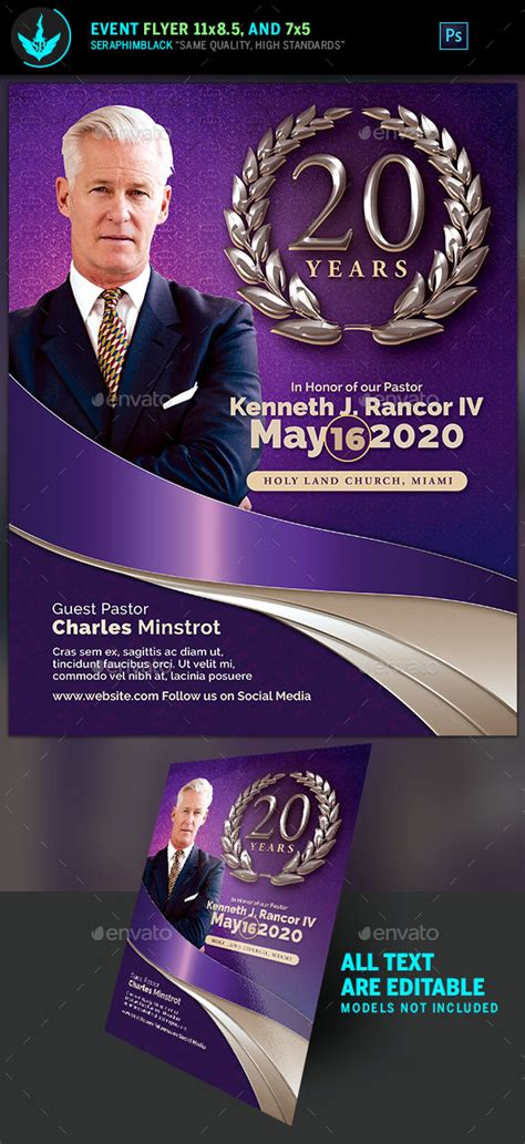 Lavender Pastor S Anniversary Church Flyer Template By Seraphimblack Pastor Anniversary Flyer Free Template