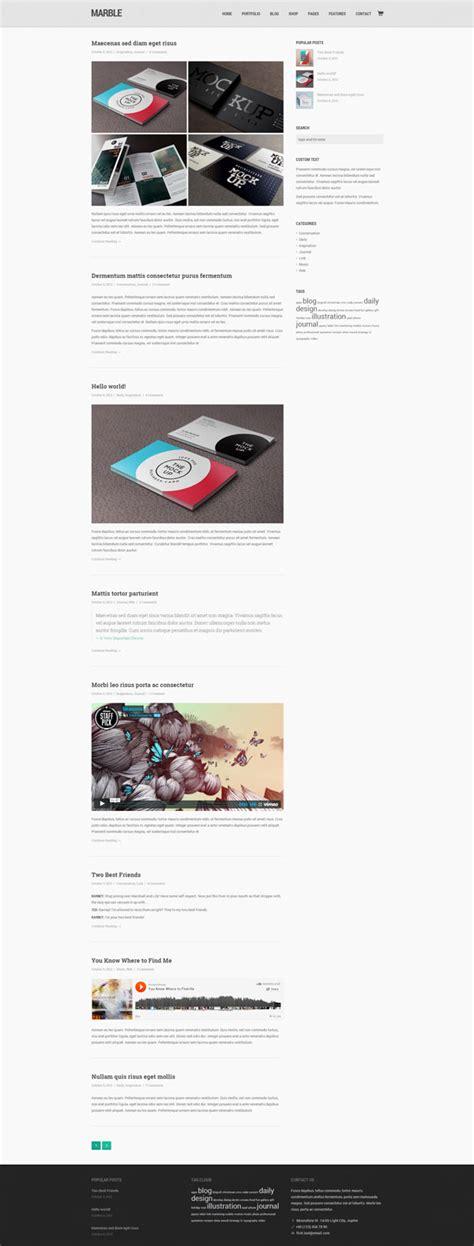wordpress theme blog layout marble flat creative wordpress theme