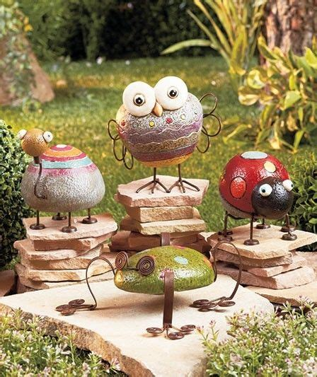 Rock Garden Ornaments Rock Garden Friends Whimsical Garden Statues Ornamens Frog Ladybug Owl Turtle Statues Lawn