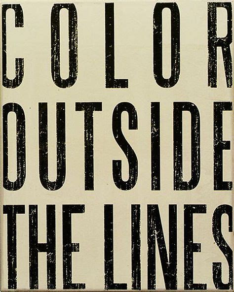 white color outside the lines box sign quotes i