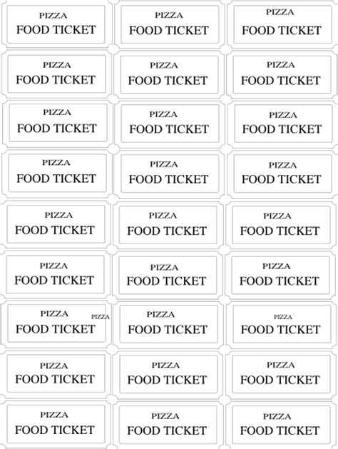 meal ticket template free