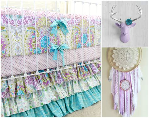 Bohemian Baby Bedding Sets Lavender Boho Baby Crib Bedding Purple Baby Bedding