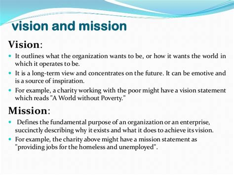 exle of vision statement vision and mission of companies