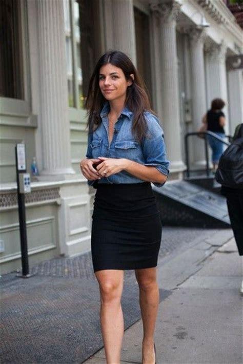 denim shirt black pencil skirt skirts