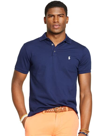 Basic Sweater Polos 2 polo ralph custom fit stretch mesh polo in blue for lyst