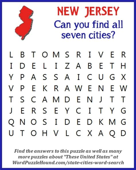 Search New Jersey State Of New Jersey Cities Word Search Word Puzzle Hound