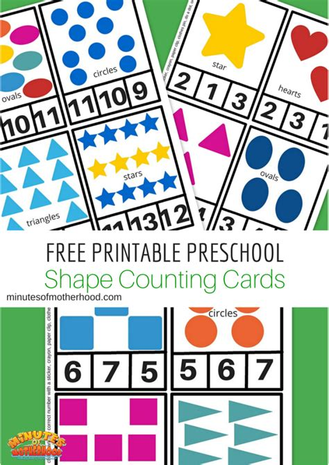 free printable cards for kindergarten free printable preschool shape clip counting cards and