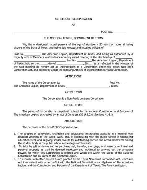 articles of incorporation template sle articles of incorporation company documents