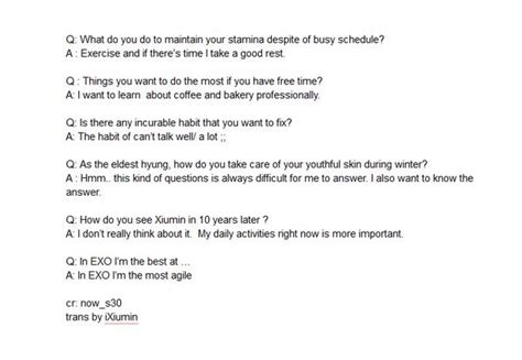 exo questions exo answer questions for the 18th issue of ivyclub