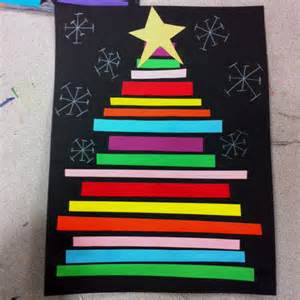 construction paper line christmas trees making