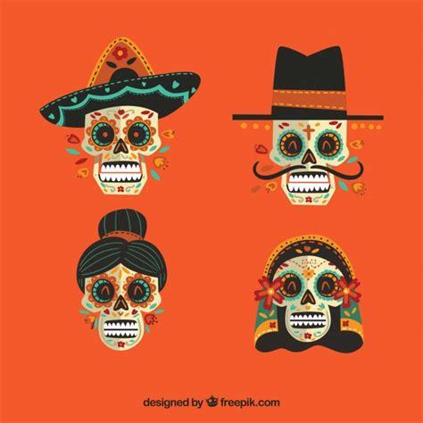 descargar imagenes de calaveras gratis pack de cuatro calaveras mexicanas descargar vectores gratis