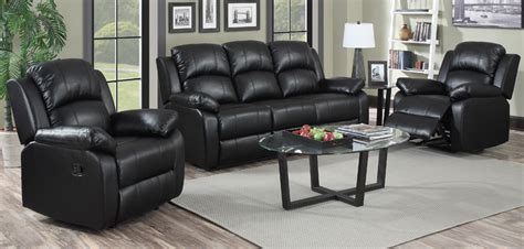 Black Leather Recliner Sofa Set Sofa Glamorous Black Leather Sofa Set Black Leather