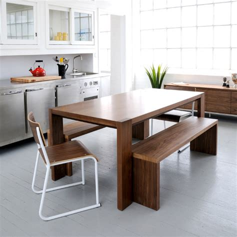 gus modern plank dining table and bench modern